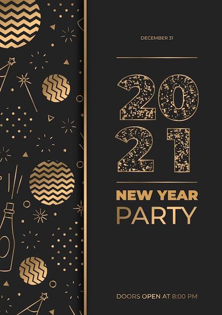 Золотая вечеринка новый год 2021 плакат шаблон Premium векторы