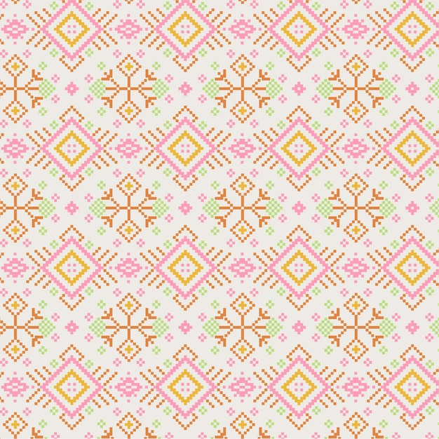 Golden pink songket pattern Free Vector