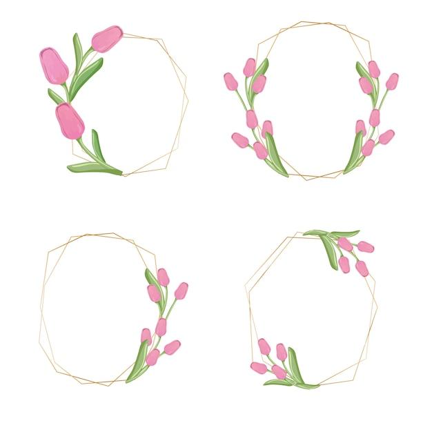 Golden pink tulip flower wreath collection Premium Vector