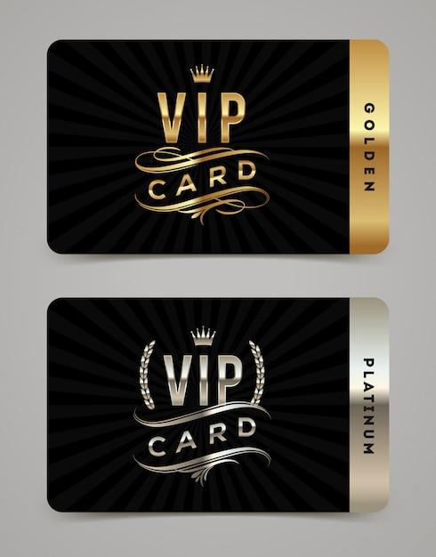 Golden and platinum vip card template Premium Vector