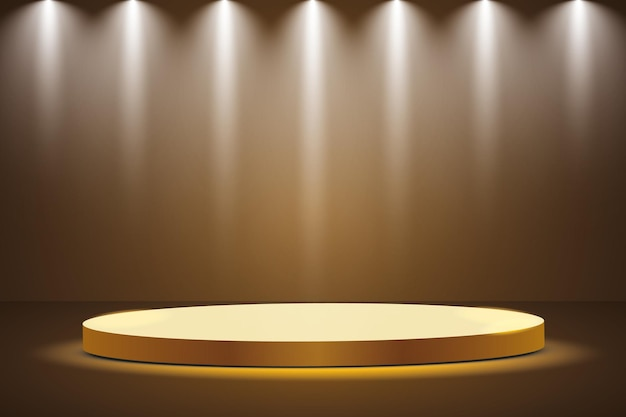 Golden podium with a spotlight on a dark background, the first place, fame and popularity. Premium Vector