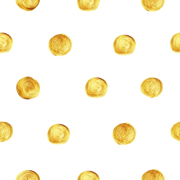 Golden polka dot glitter pattern seamless. Premium Vector