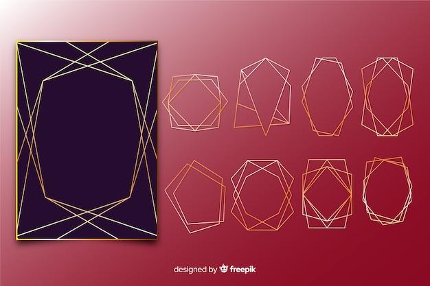 Golden polygonal frame collection Free Vector