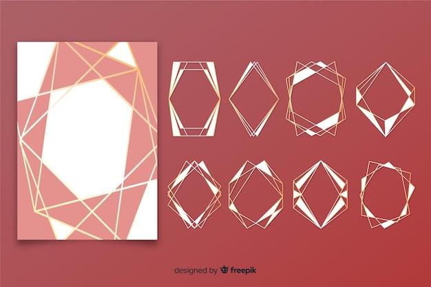 Golden polygonal frame set Free Vector