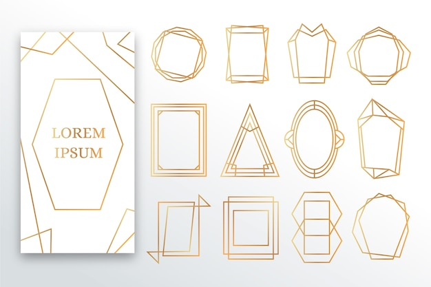 Golden polygonal frame set Free Vector