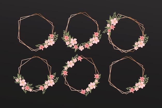 エレガントな花のコレクションと黄金の多角形フレーム Premiumベクター