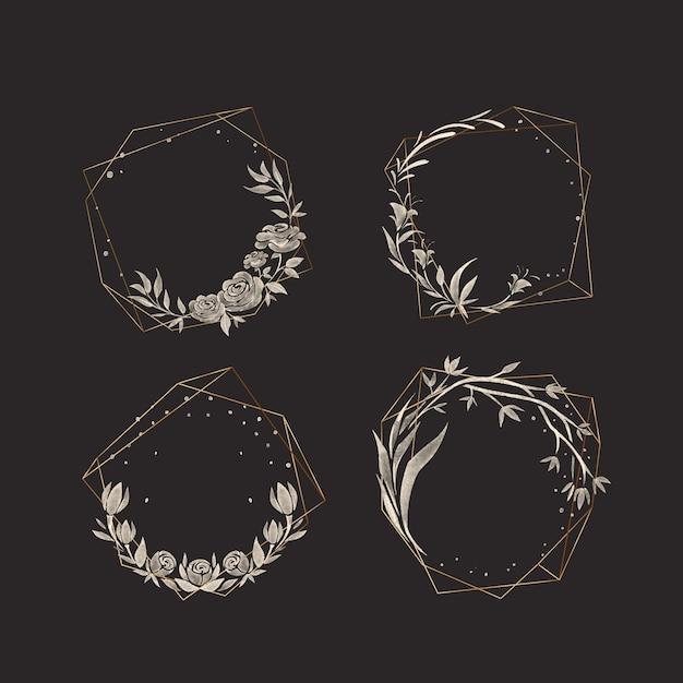 Golden polygonal frames with elegant flowers pack Free Vector