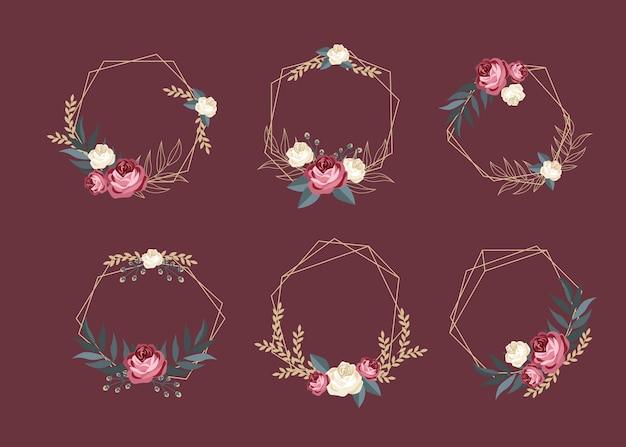 Golden polygonal frames with elegant flowers set Free Vector