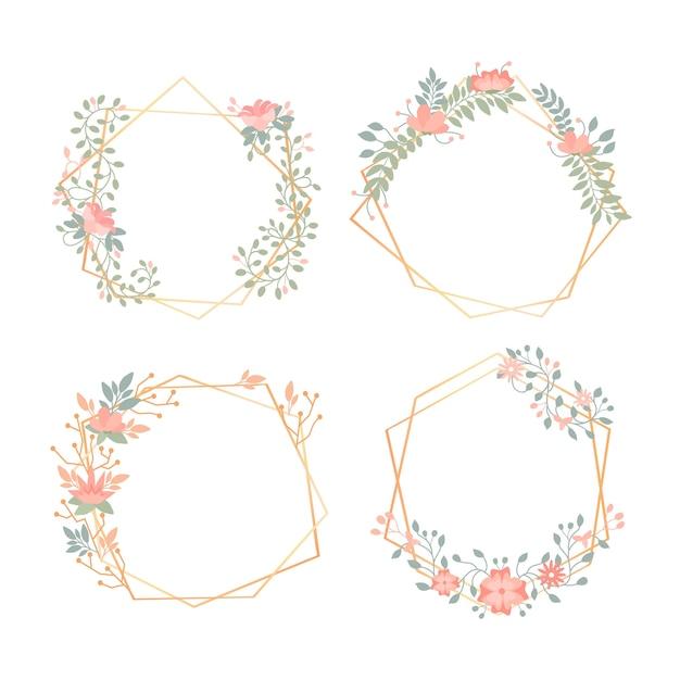 Golden polygonal frames with elegant flowers Free Vector