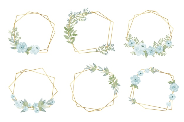 Golden polygonal frames with flowers Free Vector