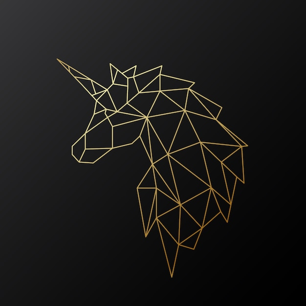 Golden polygonal unicorn. Premium Vector