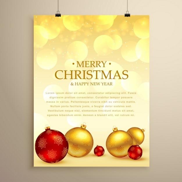 Golden poster, merry christmas Free Vector