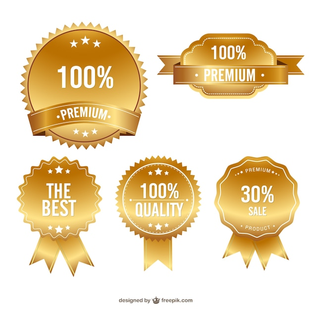 Golden premium badges Free Vector