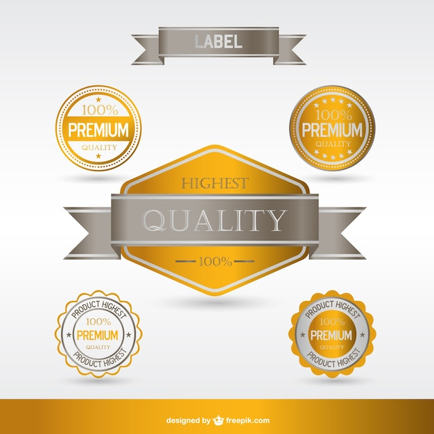 golden premium labels and badges vector free download