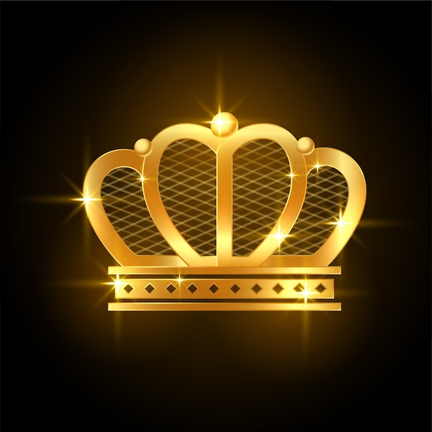 Golden premium shiny crown for royal king or queen Free Vector