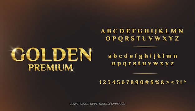 Золотые премиум текстовые алфавиты 3d Premium векторы