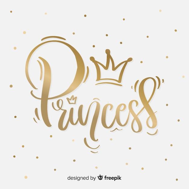 Golden princess lettering background Free Vector