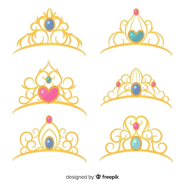 Golden princess tiara collection Free Vector