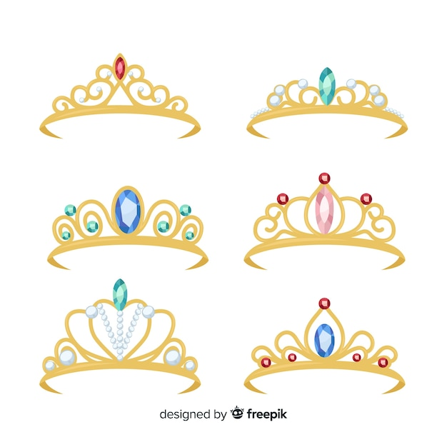 Golden princess tiara collection Free Vector