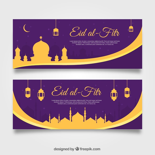 Golden and purple eid al-fitr banners Free Vector