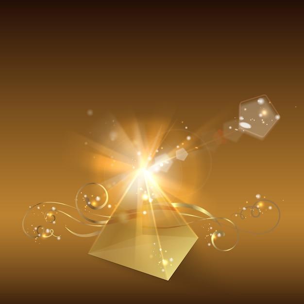 Golden pyramid. Free Vector
