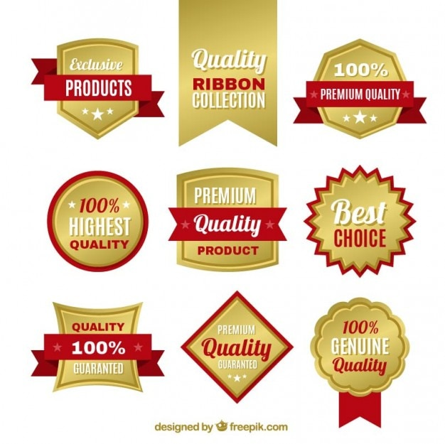 Golden quality badges Free Vector