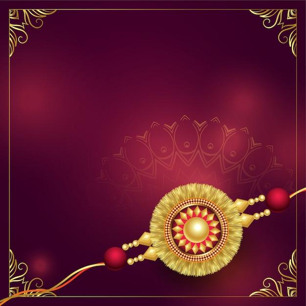 Golden rakhi background design with copyspace   Free Vector