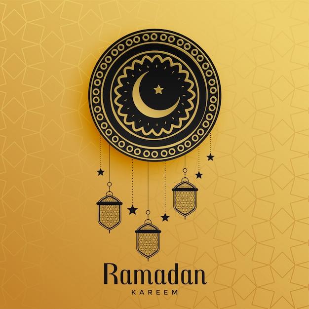 Golden ramadan kareem greeting design Free Vector