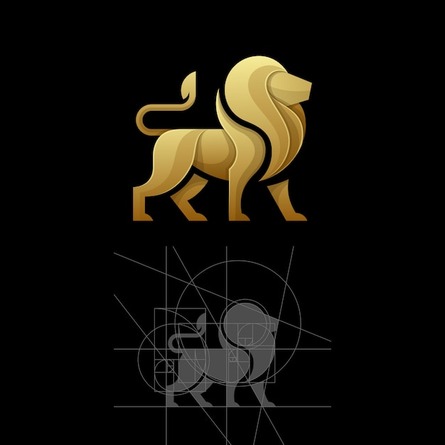 Golden ratio a lion vector illustration template Premium Vector