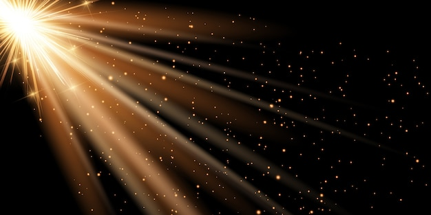 Golden rays banner background Free Vector