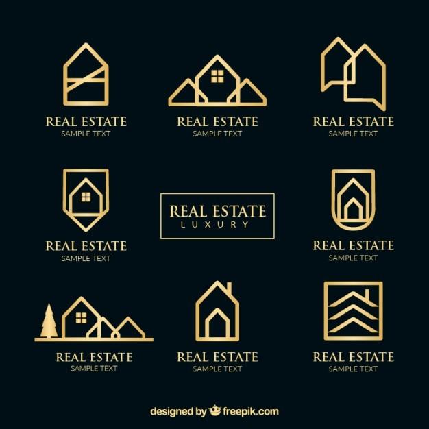 Golden real estate logotypes