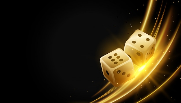 Golden realistic dice and glowing lights background Free Vector