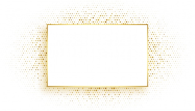 Golden rectangle frame with glitter background Free Vector