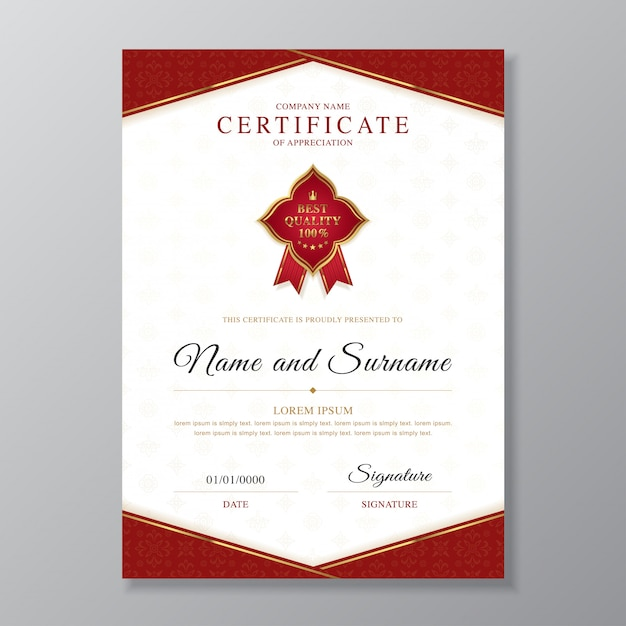 Golden and red certificate and diploma design template Premium Vector