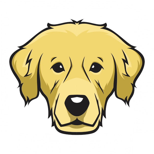 Golden retriever head dog Premium Vector