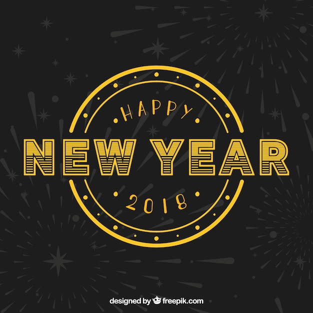 Golden retro background of happy new year
