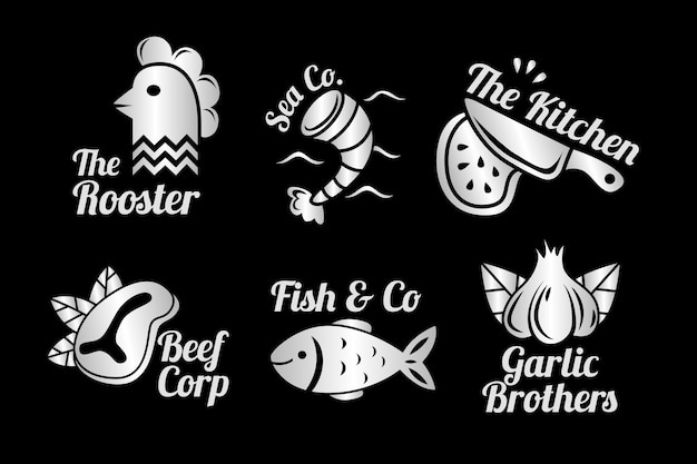 Golden retro restaurant logo collection with marine creatures Free Vector