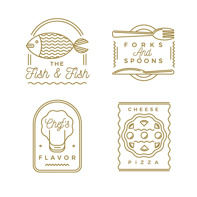 Golden retro restaurant logo collection Free Vector