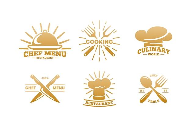 Golden retro restaurant logo pack Free Vector