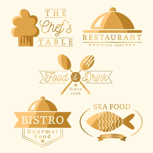 Golden retro restaurant logo set Free Vector
