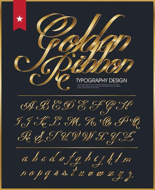 ゴールデンリボンタイポグラフィフォント Premiumベクター