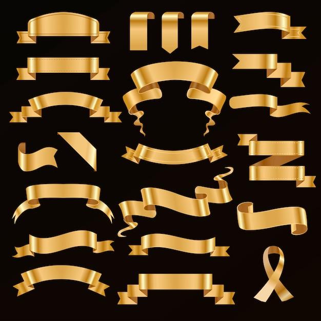 Golden ribbon vector illustration. Premium Vector