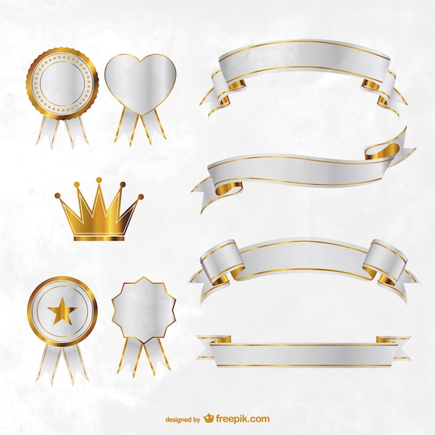 Golden ribbons, badges and crown Free Vector