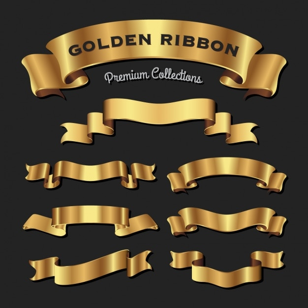 Golden ribbons collection Free Vector