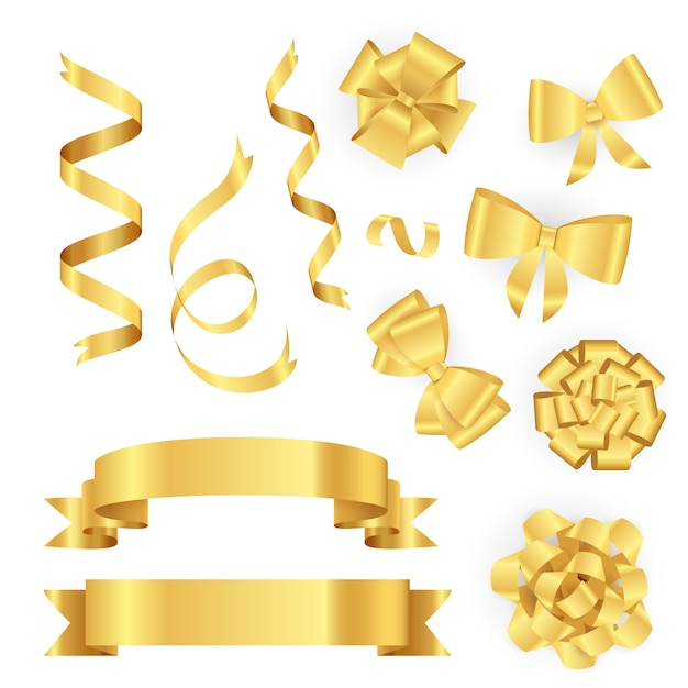 Golden ribbons for gift packing Free Vector