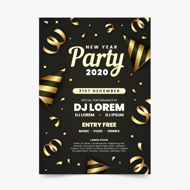 Golden ribbons new year 2020 poster Free Vector