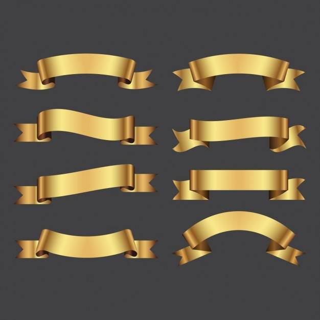 Golden ribbons pack Free Vector