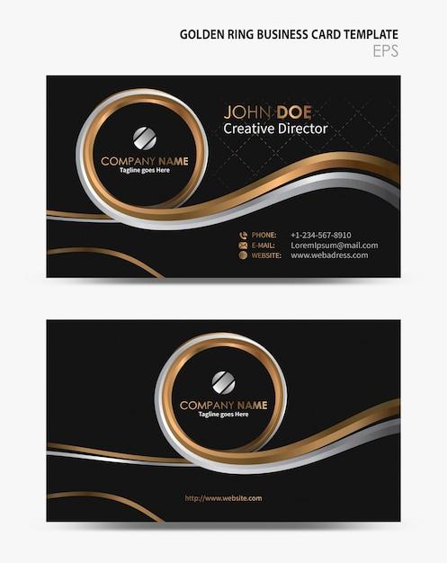 Golden Ring Business Card Template Premium Vector