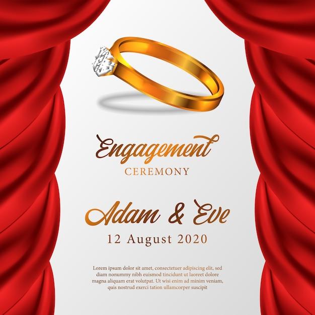 Golden ring engagement ceremony Premium Vector
