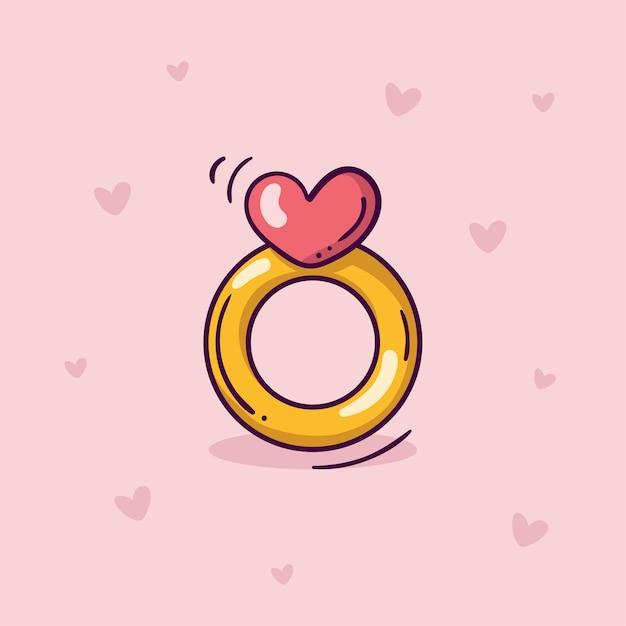 하트와 분홍색 배경에 낙서 스타일의 핑크 하트와 황금 반지 프리미엄 벡터
